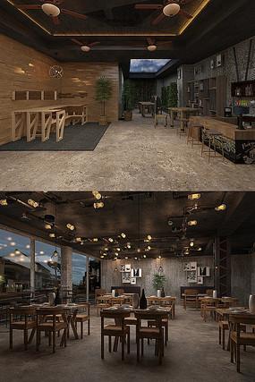 工业风餐厅大厅3D模型