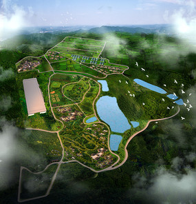 湖泊鸟瞰效果图PSD
