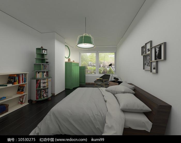 简约小清新室内卧室3D模型图片