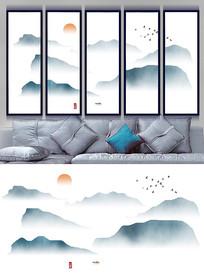 新中式抽象意境水墨山水画背景墙