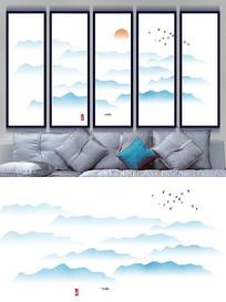 中式抽象水墨山水画背景墙