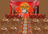 藏式风情民族婚礼效果图背景板