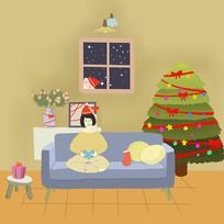 手绘圣诞树圣诞礼物圣诞节元素插画