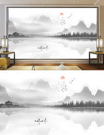 新中式禅意水墨画山水画装饰画背景墙