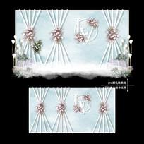 小清新婚礼效果图设计白绿色婚庆背景