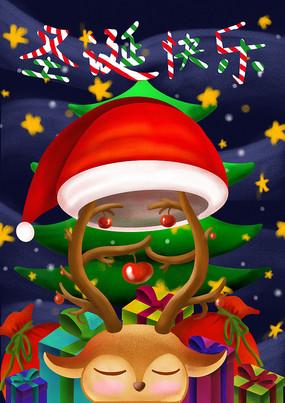 原创元素鹿角圣诞老人