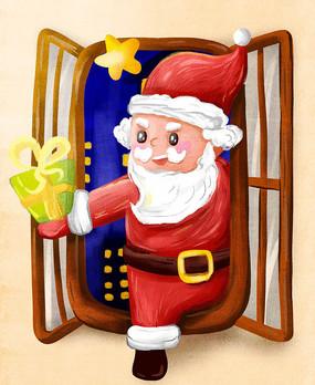 原创元素爬窗户送礼物的圣诞老人