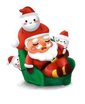 原创元素贪睡的圣诞老人