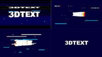 抖音失真信号故障3D文字片头视频模板