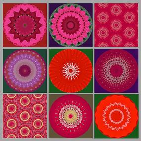 复古风互补色装饰画圆形图案