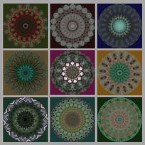 复古风植物装饰画圆形图案