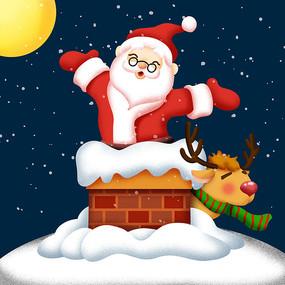 原创元素圣诞老人烟囱