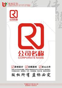 RJ英文字母印章标志设计