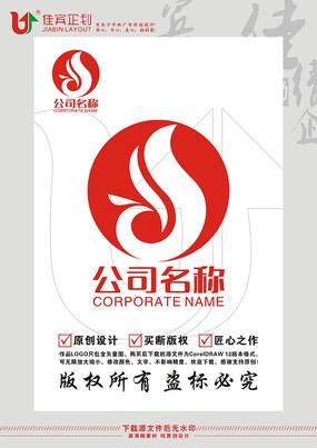 S英文字母凤凰鸟标志设计