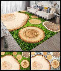 创意清新木纹地垫地毯设计