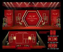 高端红色欧式主题婚礼效果图背景板