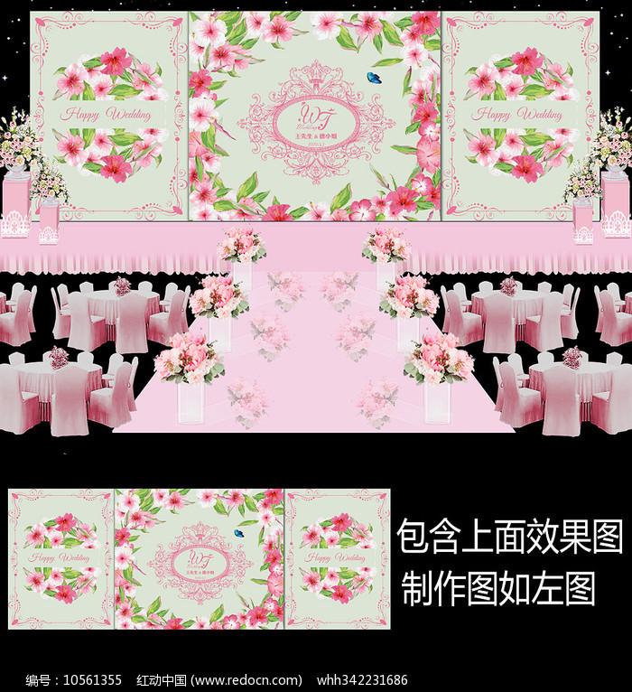 浪漫粉色花卉婚礼舞台背景板设计图片