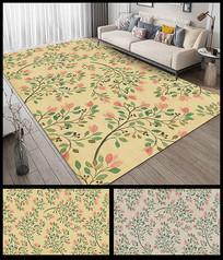 小清新花朵花纹地垫地毯设计