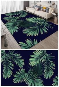 小清新热带绿叶地垫地毯设计