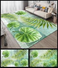 小清新热带绿叶地毯设计