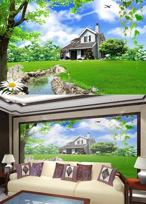 绿色田园风光客厅电视背景墙