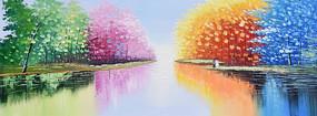 手绘公园山水风景油画无框画