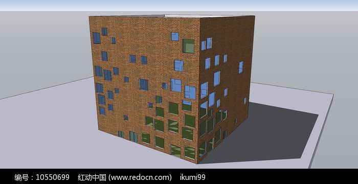 红砖多窗户建筑住宅SU模型图片