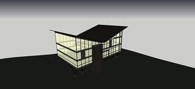 折线屋顶创意建筑SU模型