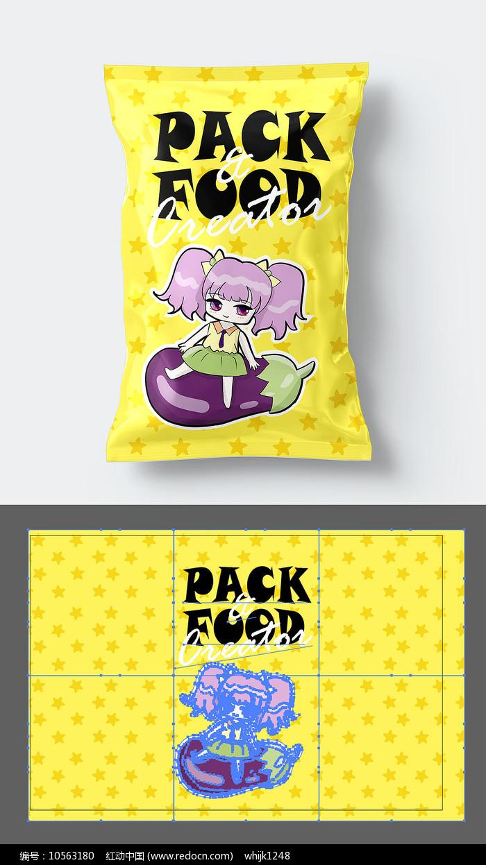 清新休闲食品包装袋设计图片