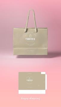 矢量金色咖啡手提袋包裝設計圖