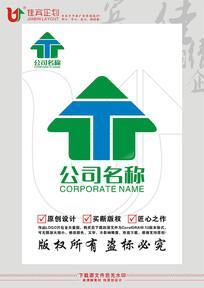 T英文字母房子建材装饰行业标志设计