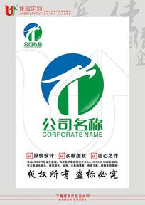 T英文字母龍圖形標志設計