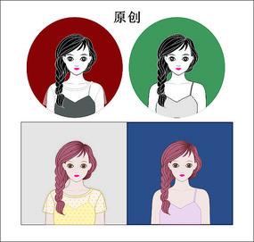 彩色美女头像卡通人物cdr