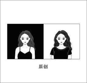 黑白美女头像卡通