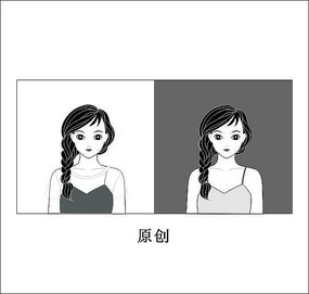 黑白美女头像卡通cdr