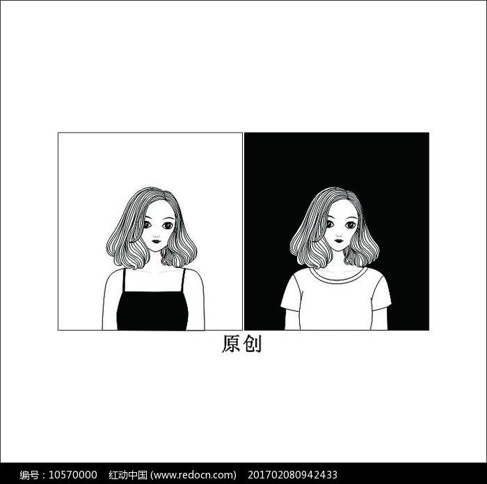 黑白美女头像卡通矢量图图片