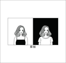 黑白美女頭像卡通矢量圖