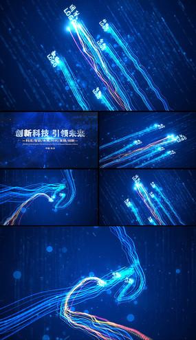 蓝色震撼大气粒子光线片头ae模板