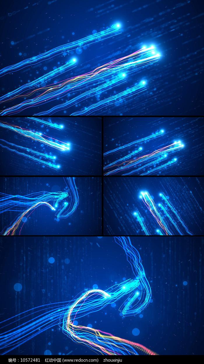 蓝色震撼大气粒子光线片头视频图片