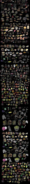 各种水果 蔬菜CAD图库