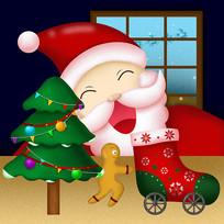 原创慈祥的圣诞老人卡通