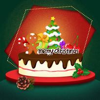 原创元素卡通圣诞蛋糕