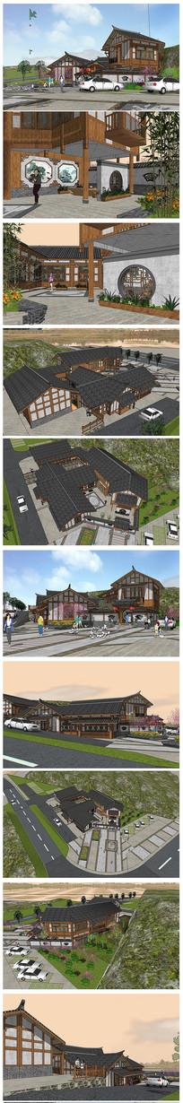 中式度假村建筑模型