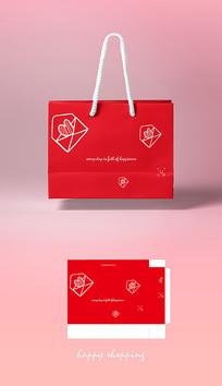 高档红色简约婚庆用品包装袋