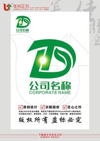 TD英文字母绿叶太阳农业LOGO标志设计