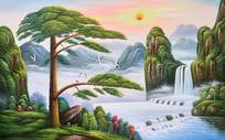 高清立体欧式公园风景油画背景墙