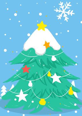 手绘卡通圣诞节圣诞树插画元素