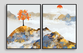 彩色枫叶室内装饰画