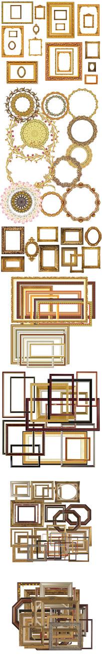 免抠PSD分层金色欧式花纹木质镂空像相框