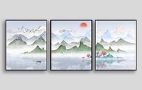 青山绿水三联室内装饰画